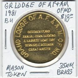Masonic Penny - Grand Lodge Of Af And Am Of Maryland - 1981 Bu - 35 Mm Brass