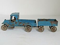 Antique Arcade Cast Iron C Cab Truck With Wagon 1920s Nickel Wheels And Driver