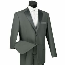 Lucci Menand039s Gray Classic Fit Formal Tuxedo Suit W/ Sateen Lapel And Trim New