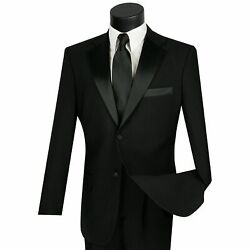Lucci Menand039s Black Classic Fit Formal Tuxedo Suit W/ Sateen Lapel And Trim New