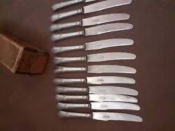 Art Deco August Wellner And Sons Set Of 12 Fruit Knives Alpaca