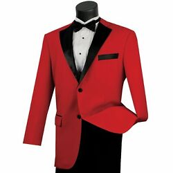 Lucci Menand039s Red Classic Fit Formal Tuxedo Suit W/ Black Sateen Lapel And Trim New