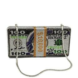 Crystals Dollars Money Women Evening Clutch Bags Wedding Handbags Dinner Purses $35.99