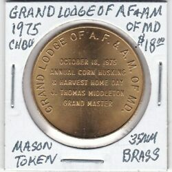 Masonic Penny - Grand Lodge Of Af And Am Of Maryland - 1975 Ch Bu - 35 Mm Brass