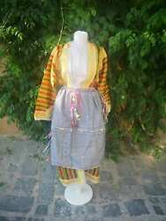 Hand Embroidered Long Gown And Apron,macedonian Islamic Ethnic Clothes