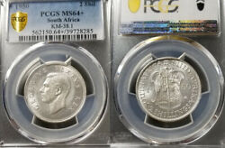 South Africa 1950 2 Shillings Rare Pcgs 64+ Highest Graded Mintage 4945 Struck