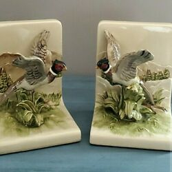 Rare Vintage Beautiful Ceramic Pheasants In Flight Bookends- Excellent Condition