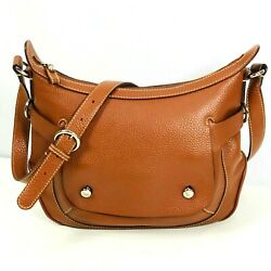 Lancel Shoulder Bag Purse Brown Pebble Leather Authentic Designer Medium Italy $299.99