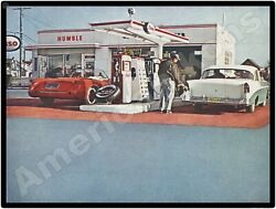1961 Humble Oil Esso Gas Station New Metal Sign Corvette Convertible At Pump