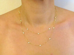 """1.00 Tcw Diamond By The Yard Station Necklace 14k Solid Gold G/ Vs2 36"""" Yellow"""