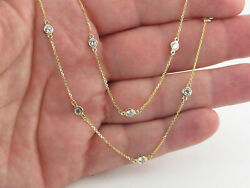 2.00 Tcw Diamond By The Yard Station Necklace 14k Solid Gold G/ Vs2 36andrdquo Yellow