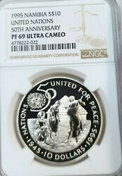 1995 Namibia Silver 10 United Nations 50th Anniv Ngc Pf 69 Ultra Cameo Top Pop