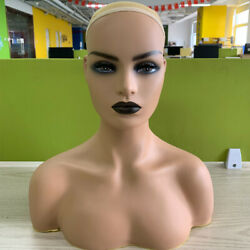 Realistic Female Mannequin Head with Shoulder for Display Hair Wig Hat Jewellery $65.99