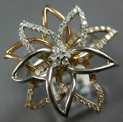 Estate Large .52ct Diamond 14kt White And Rose Gold 3d Double Flower Fun Ring