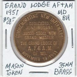 Masonic Penny - Grand Lodge Of Af And Am Of Maryland - 1951 Bu - 35 Mm Brass