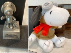 Metlife Snoopy Novelty Hong Kong Metlife Statue And Plush Toy Lot Of 2