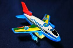 Rare Vintage Lufthansa Tin And Plastic Friction Airplane Toy Made In Japan