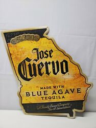 Jose Cuervo Blue Agave Tequila-yellow And Black Tin Sign-georgia State-17 X 20