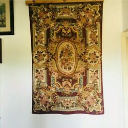Vintage Needlepoint Wool Rug Tapestry Wall Hanging Floral - Beautiful Quality