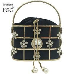 Rhinestones Flower Bucket Clutch Evening Bags Shoulder Handbags Crossbody Purse $28.99