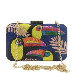 Toucan Bird Women Crystal Evening Bags Rhinestones Clutch Party Cocktail Handbag $35.99