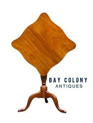 20th C Queen Anne Antique Style Henkel Harris Mahogany Tilt Top Candle Stand