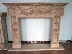 Hand Carved Marble Fireplace Mantel, Floral Relief Carvings, Beige 3915
