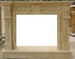 Hand Carved Beige Marble Fireplace Mantel With Crest Or Shield Carvings