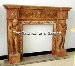 Attractive Marble Fireplace Mantel 4292 Figural With Heavy Carving