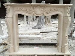 Hand Carved French Style Marble Fireplace Mantel In Egypt Beige, Floral Carvings