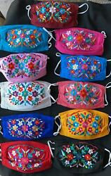 Beautiful Mexican Face Mask Embroidered COSMOS FLOWERS Washable cubreboca  f66 $10.00