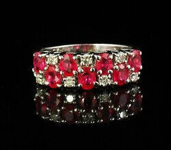 Very Fine Natural 1.70ctw Ruby And Diamond Solid 14k White Gold Wide Band Ring