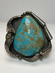 Vintage Turquoise And Sterling Silver Bracelet Cuff