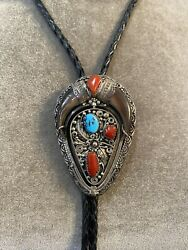 Vintage Turquoise And Coral Sterling Silver Bolo Tie