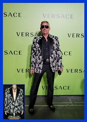 New Versace Brocade Tailor Made Blazer Jacket W/ Crystal Buttons 50 - 40