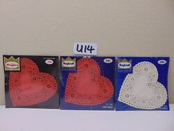 Vintage Lot Of 3 Packs Roylcraft Paper Doilies Red And White Hearts Royal Lace 6