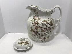 Antique 1920and039s Large Sefton Pitcher And Soap Dish Brown And White Ironstone England