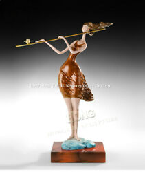 26.5 Western Abstract Art Decorate Sculpture Playing Flute Bronze Statue