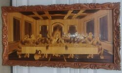 Very Large Vintage Framed Wood Last Supper Art Marquetry And Wood Burned