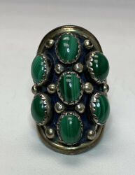 Vintage Nakai Malachite And Sterling Silver Ring