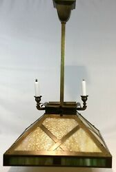 Antique C1915 Gas Electric Light Mission Arts And Crafts Brass Slag Glass Restored