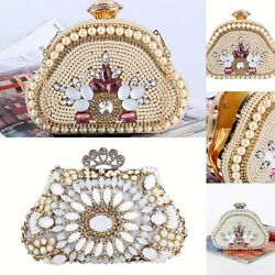 Rhinestones Clutch Purse Women Vintage Beaded Crystal Evening Bags handbags Bag $26.99