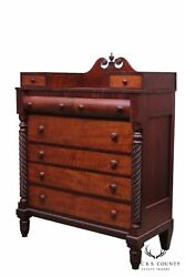 Antique American Empire Tiger Maple And Mahogany Chest Of Drawers