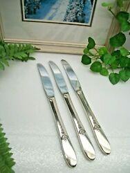 3 Oneida Tudor Plate Fantasy Silverplate Luncheon Grille Knives 1941
