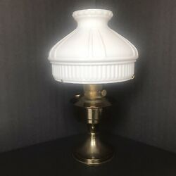 Vintage Aladdin Burner Oil Lamp No. 23 With White Detailed Glass Shade Beautiful