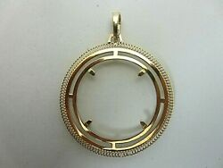 18k Yellow Gold Coin Frame Pendant For 20 Liberty 1 Oz. Bezel Wide Fancy
