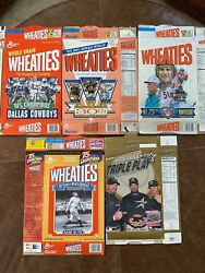 Lot Of 5 Vintage Wheaties Collectable Cereal Boxes Nfl Astros Cowboys Babe Ruth