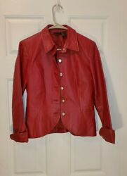 Womenand039s Red Genuine Leather Fitted Jacket Size S