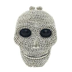 Halloween Skull Clutch Women Silver Evening Bags Party Cocktail Crystal Purses $69.99