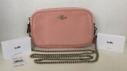 NWT Coach F72490 Double Zip Crossbody Purse Chain Strap Pink Pebbled Leather $85.00